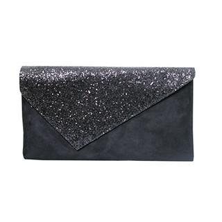 Jaclin Black Envelope Bag with Sequin Detail