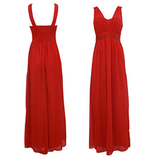 Max and Lola Red Pearl Detail Long Dress
