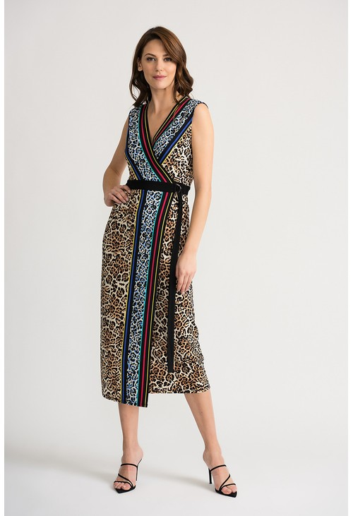 Joseph Ribkoff Sleeveless wrap dress in leopard print