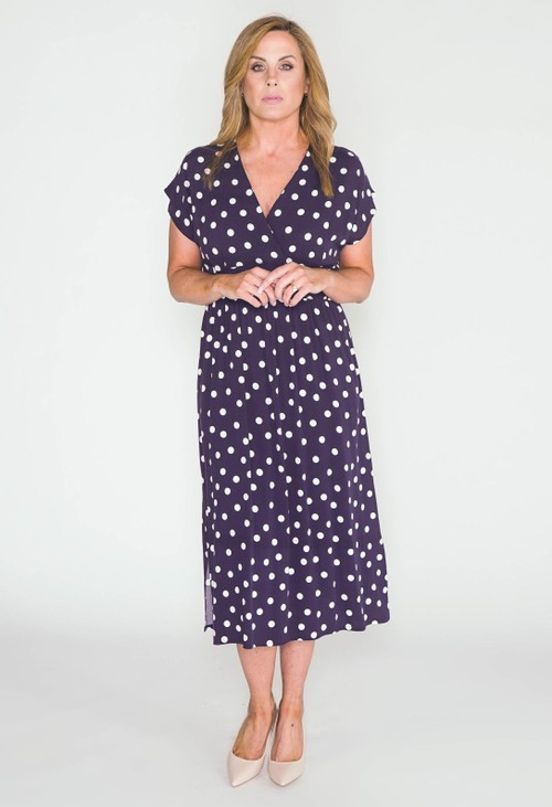 Zapara POLKA DOT MIDI DRESS