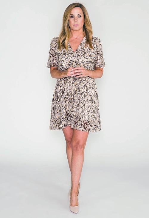 Pamela Scott Beige Printed Faux Wrap Dress