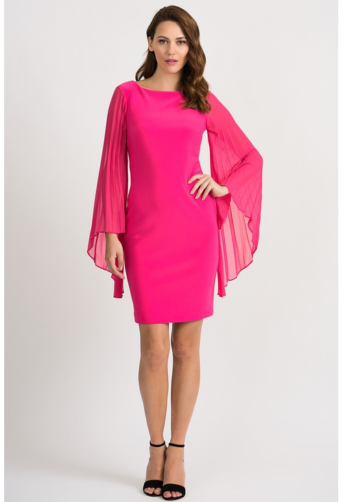 Joseph Ribkoff Pleated sleeve dress in pink