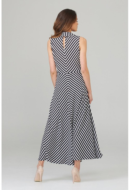 Joseph Ribkoff Modern striped dress with belt detail in navy and white