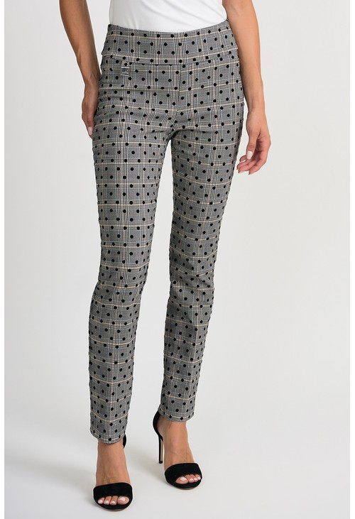 Joseph Ribkoff Polka dot printed trousers with pull on waist in grey