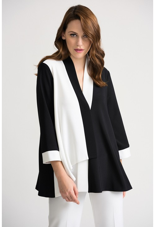Joseph Ribkoff Two tone asymmetrical top in black and white
