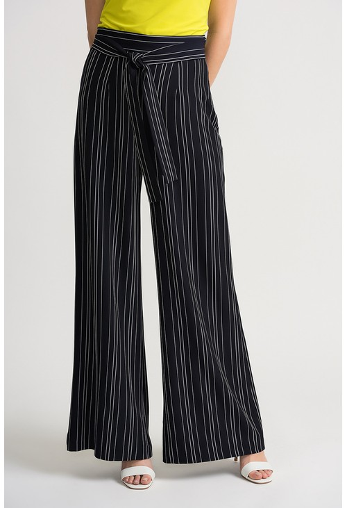 Joseph Ribkoff Striped wide leg trousers in navy
