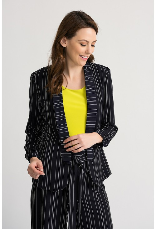 Joseph Ribkoff Striped blazer with an open tuxedo front in navy
