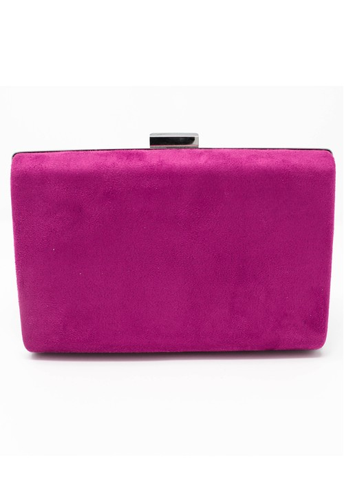 Pamela Scott structured suedette clutch bag in fuchsia