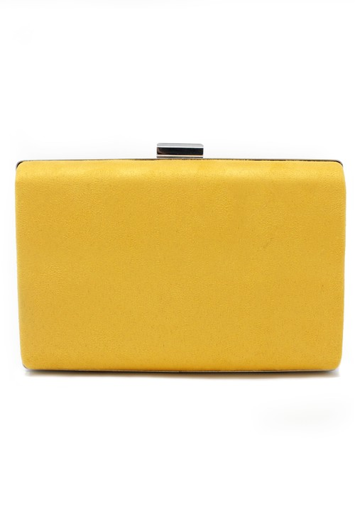 Pamela Scott structured suedette clutch bag in yellow