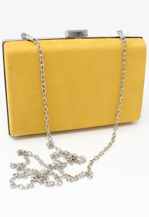 Pamela Scott structured suedette clutch bag in yellow