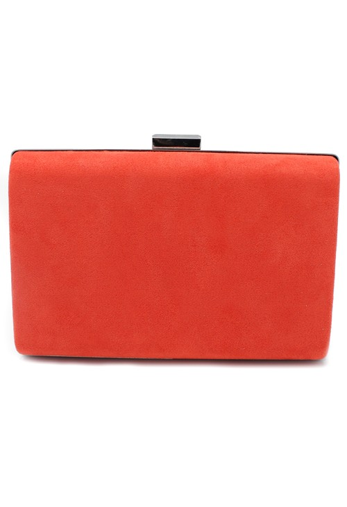 Pamela Scott structured suedette clutch bag in orange