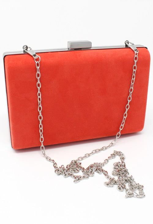 Pamela Scott structured suedette clutch bag in orange