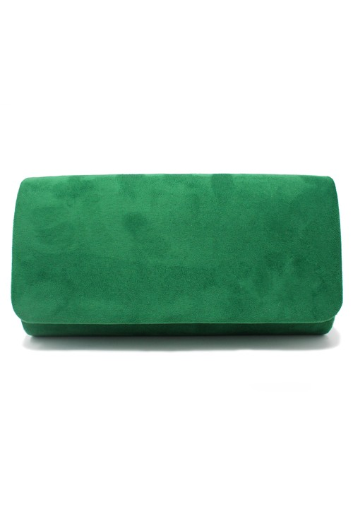 Pamela Scott structured suedette clutch bag in green