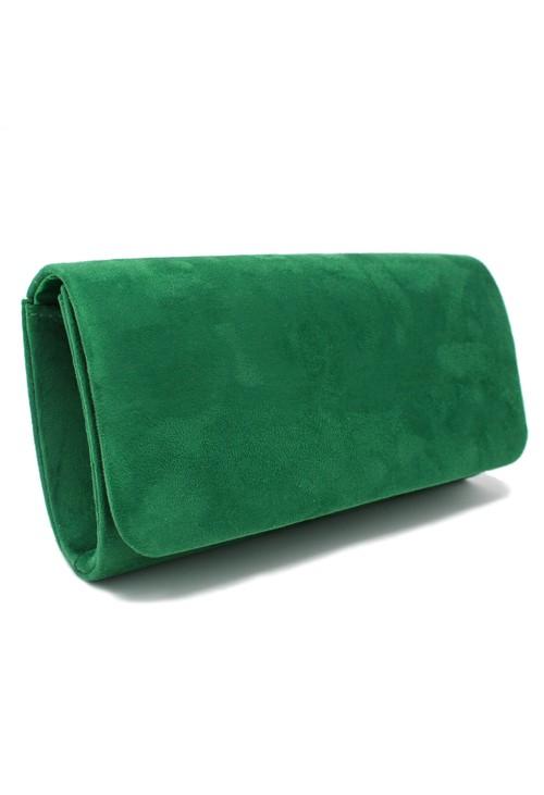 Pamela Scott structured suedette clutch bag in green