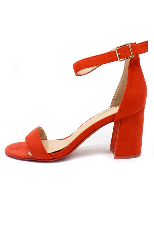Pamela Scott orange suedette block heel sandal