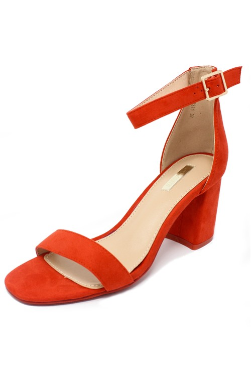 Shoe Lounge orange suedette block heel sandal