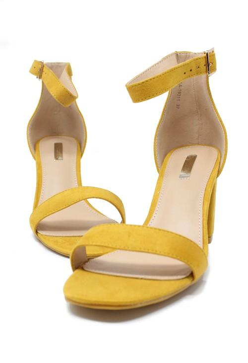 Pamela Scott yellow suedette block heel sandal