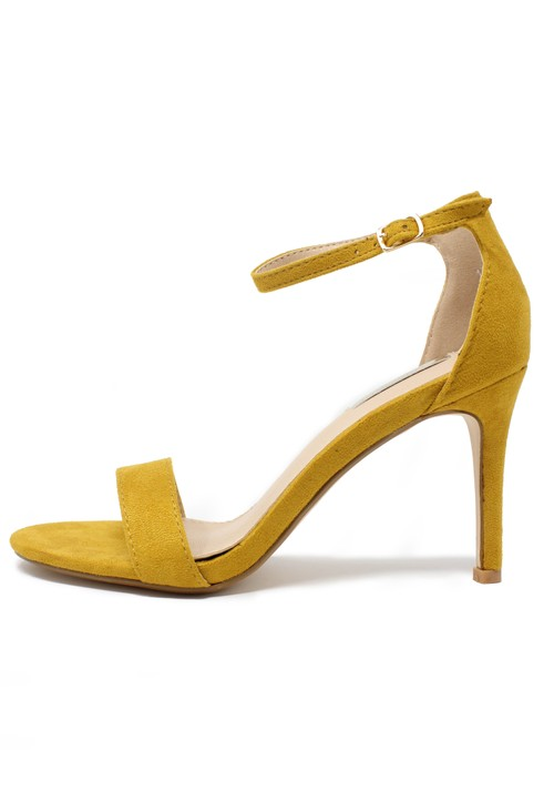 Pamela Scott yellow barely there suedette sandals