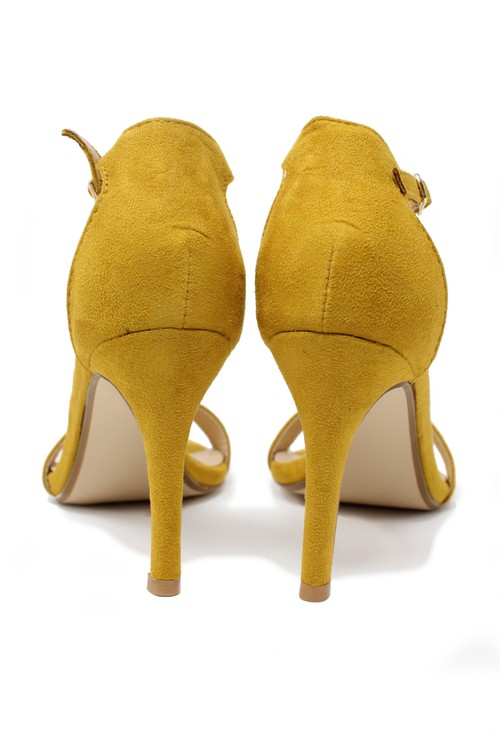Shoe Lounge yellow barely there suedette sandals