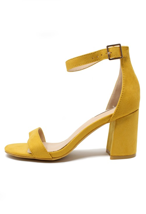 Pamela Scott yellow suedette block heel sandal