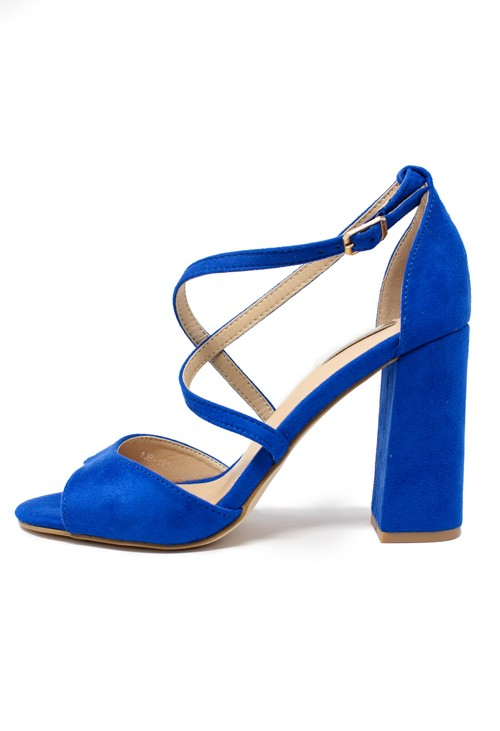 Shoe Lounge royal blue suedette sandal with criss cross front