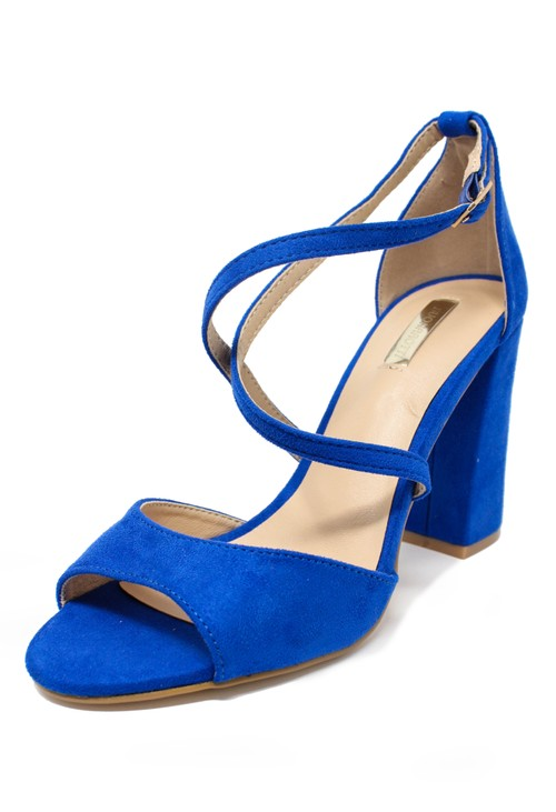 Pamela Scott royal blue suedette sandal with criss cross front