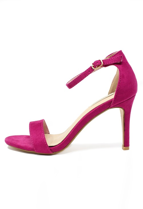 Pamela Scott fuchsia Barely there suedette sandals