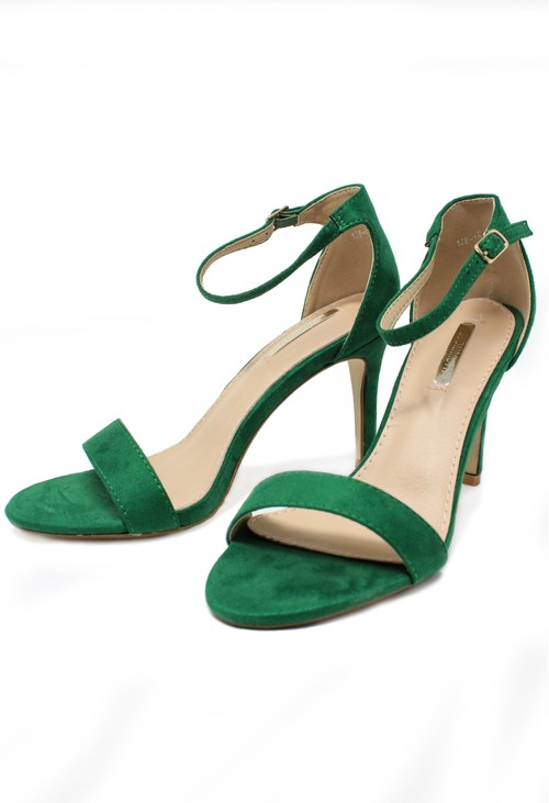 Pamela Scott green barely there suedette sandals