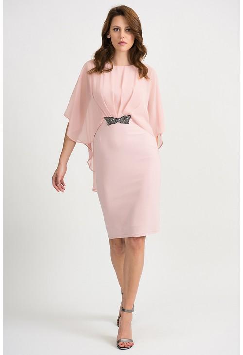 Joseph Ribkoff Chiffon Pink Cape Overlay Dress
