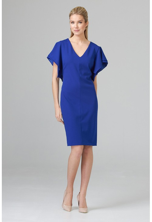 Joseph Ribkoff Cape Sleeve Effect Royal Blue Dress