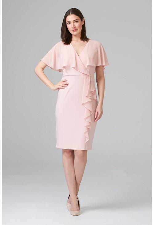 Joseph Ribkoff Chiffon Soft Pink V-Neck Top Dress