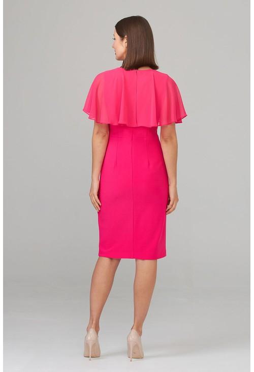 Joseph Ribkoff Chiffon Fuchsia Pink Top V-Neck Dress