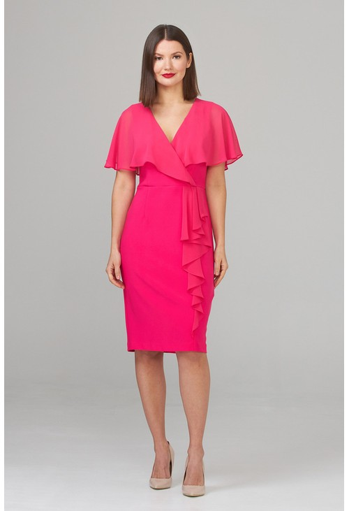 Joseph Ribkoff Chiffon Fuchsia Pink Top V-Neck Dress