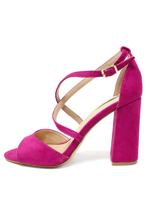 Pamela Scott Fuchsia suedette sandal with criss cross front