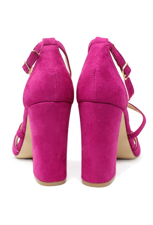 Pamela Scott Fuchsia suedette sandal with criss cross front