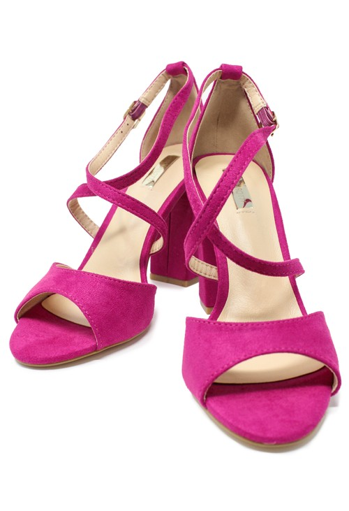 Shoe Lounge Fuchsia suedette sandal with criss cross front