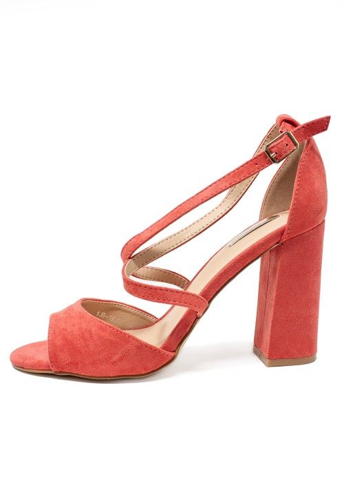 Pamela Scott Pink suedette sandal with criss cross front