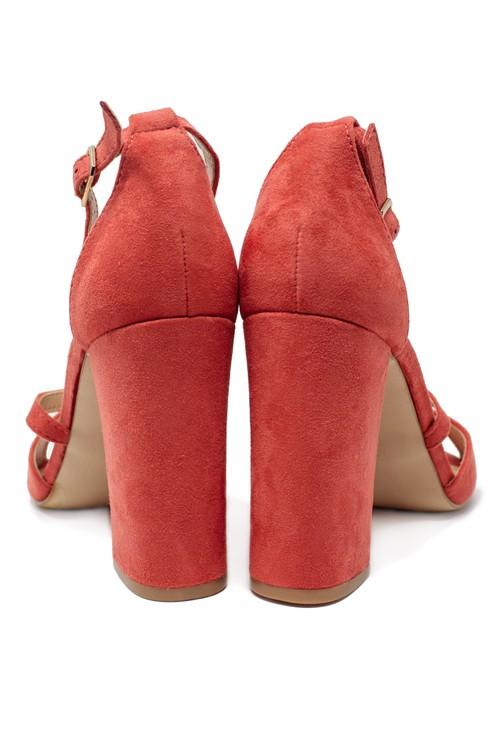 Pamela Scott Pink suedette sandal with criss cross front