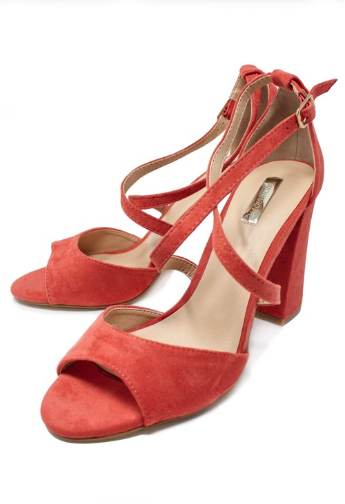 Shoe Lounge Pink suedette sandal with criss cross front