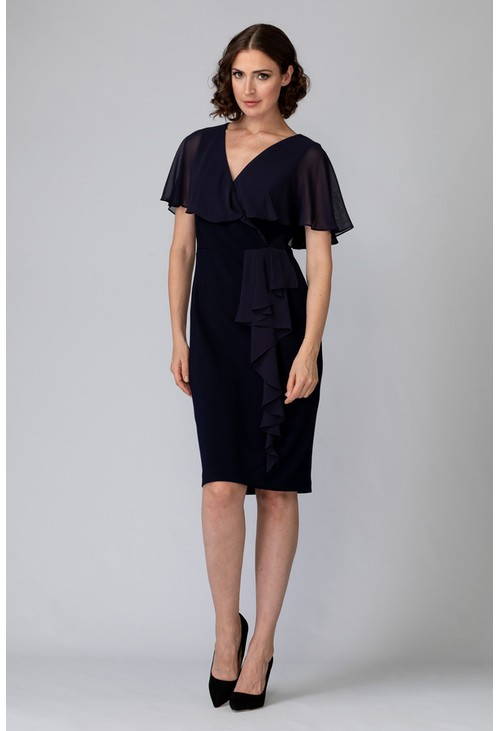 Joseph Ribkoff Chiffon Navy Top V-Neck Dress