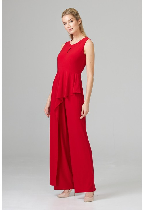 Joseph Ribkoff Wide Leg Red Jumpsuit with a Frill Detail