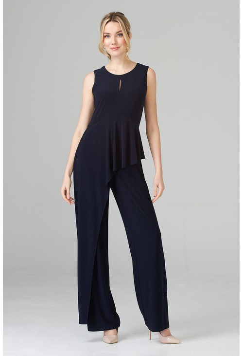 Joseph Ribkoff Wide Leg Navy Jumpsuit with a Frill Detail