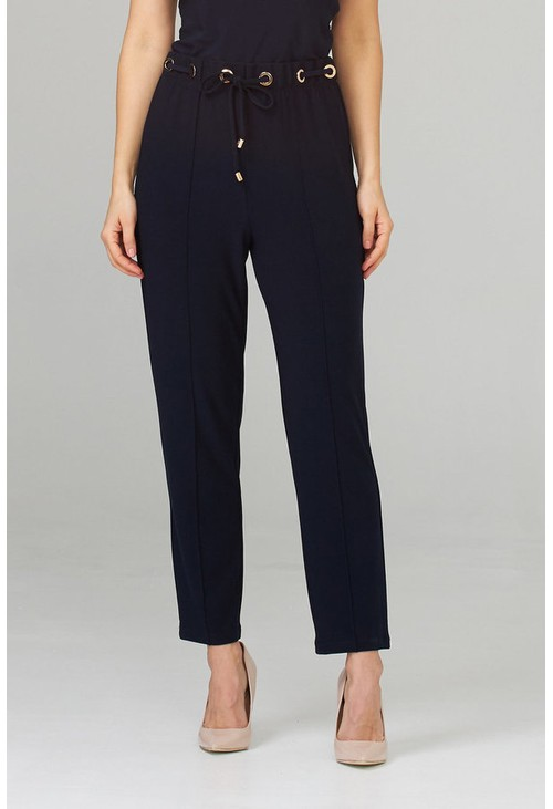 Joseph Ribkoff Cropped Navy Trousers with Gold Detail Belt Loops
