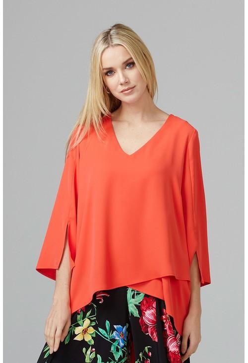 Joseph Ribkoff V Neck Orange Asymmetrical Hem Line Top with Split Sleeve