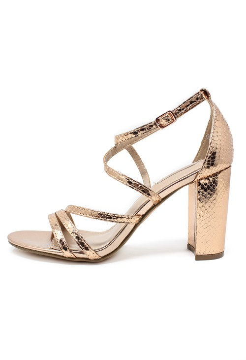Pamela Scott rose gold asymmetric strap sandal with block heel