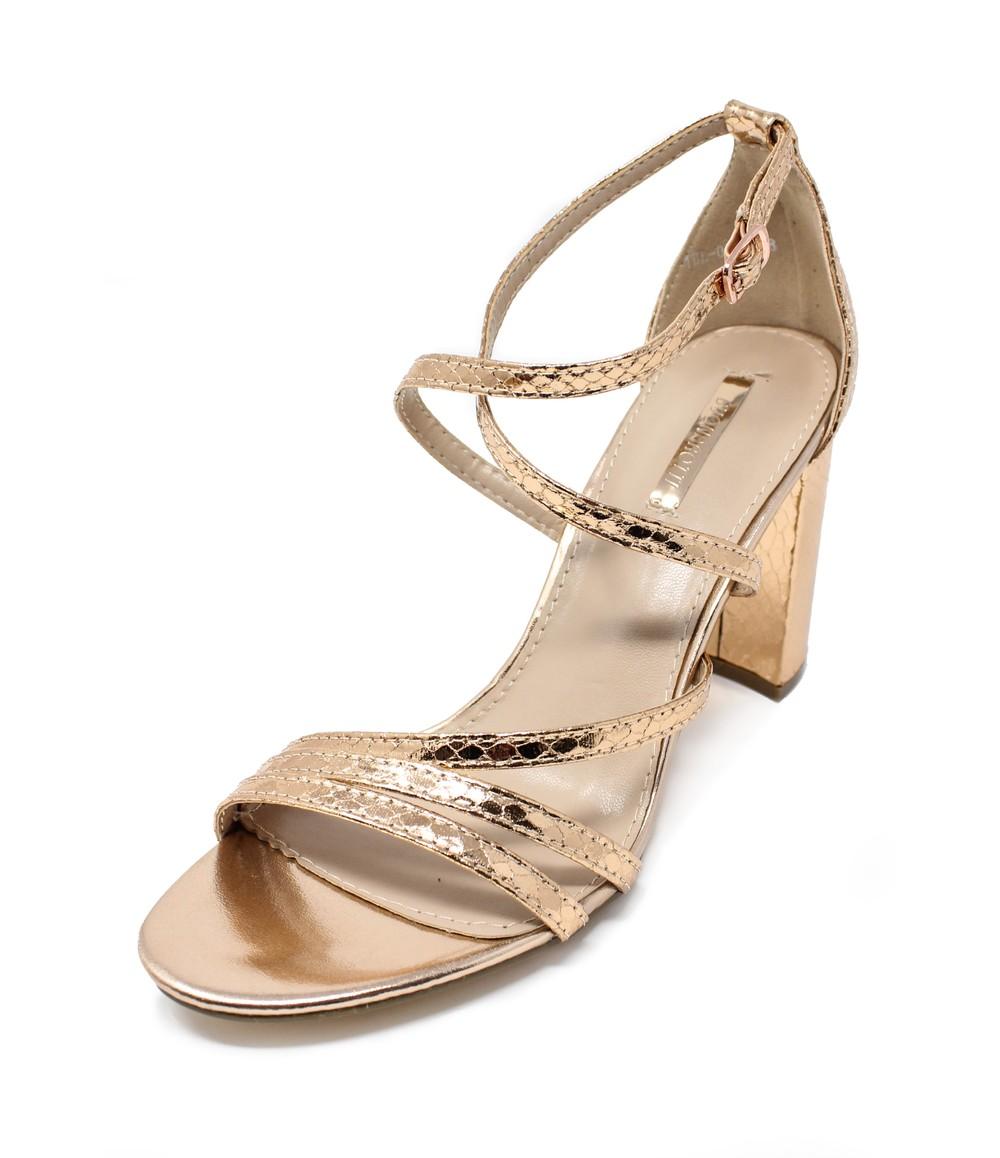 Shoe Lounge rose gold asymmetric strap sandal with block heel