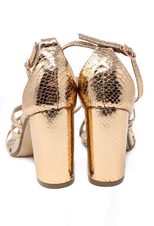 Pamela Scott rose gold asymmetric strap sandal with block heel