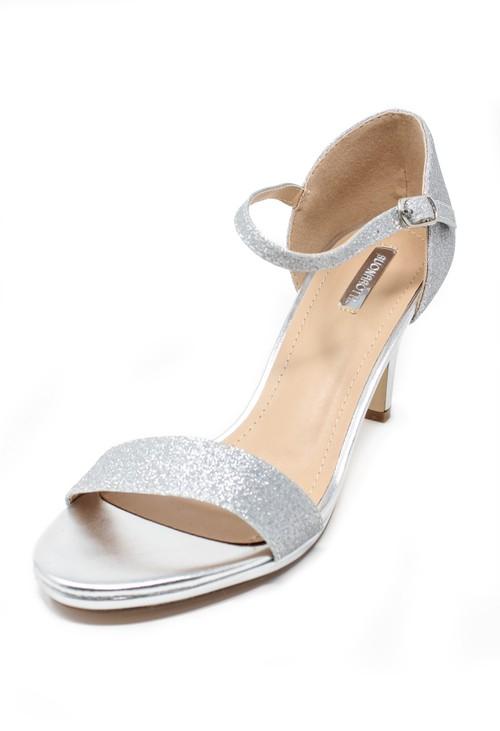 Pamela Scott silver glitz barely there sandals