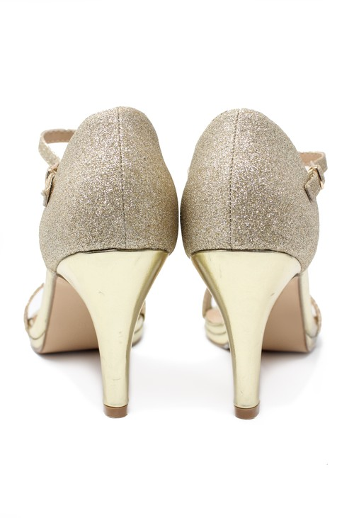 Shoe Lounge gold glitz barely there sandals