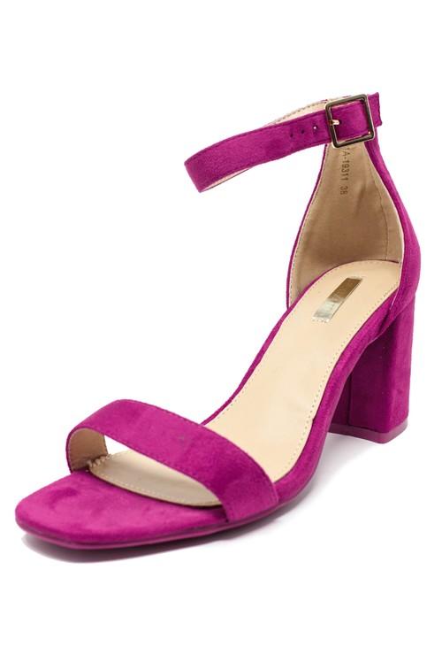 Pamela Scott fuchsia suedette block heel sandal